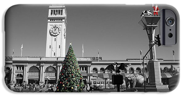Surrealism Digital iPhone Cases - They Dont Do Christmas In San Francisco The Way We Do It In Kansas Betsy Jane DSC1745 bw with text iPhone Case by Wingsdomain Art and Photography