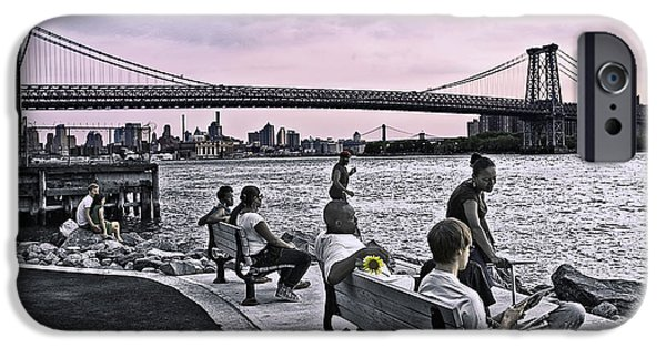 River View iPhone Cases - They Gathered At The Williamsburg Bridge - Brooklyn - New York iPhone Case by Madeline Ellis