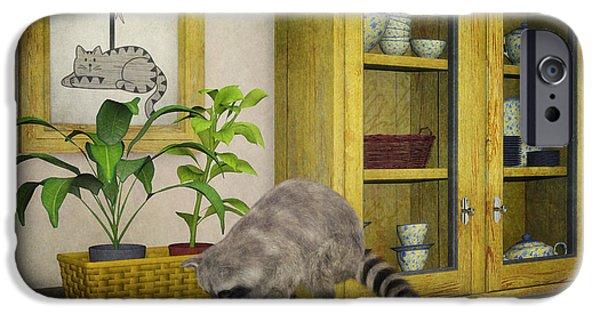 Raccoon Digital Art iPhone Cases - Thief iPhone Case by Jutta Maria Pusl