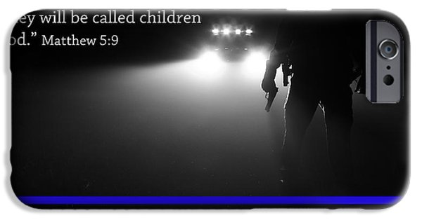 Best Sellers -  - Police iPhone Cases - Thin Blue Line iPhone Case by Jerry Mann