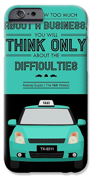 Business Digital iPhone Cases - Think About Difficulties Business Motivational Quotes iPhone Case by Lab No 4 - The Quotography Department