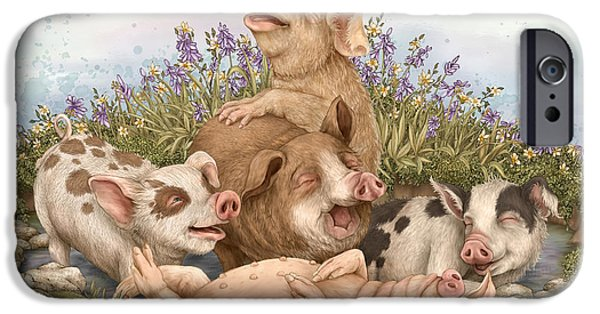 Pigs iPhone Cases - Think Happy iPhone Case by Beverly Levi-Parker