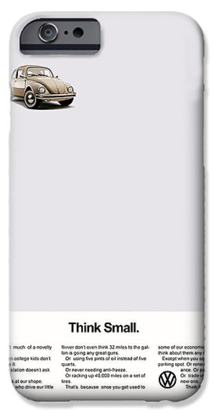 Volkswagen iPhone Cases - Think Small iPhone Case by Mark Rogan