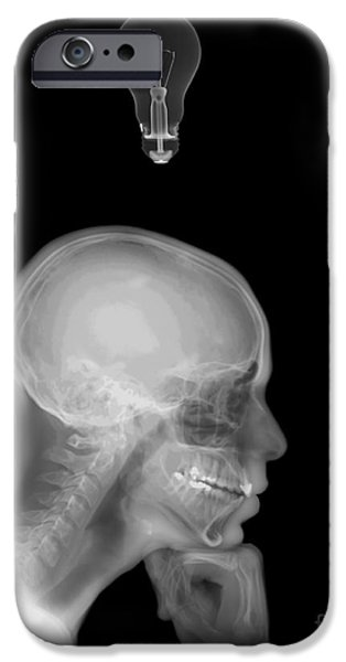 Thinking iPhone Cases - Thinking Man With A Lightbulb  iPhone Case by Guy Viner
