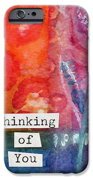 Thinking iPhone Cases - Thinking of You Art Card iPhone Case by Linda Woods