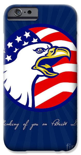 Thinking iPhone Cases - Thinking of You on Patriot Day Card iPhone Case by Aloysius Patrimonio