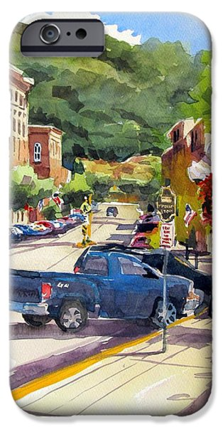 Store Fronts Paintings iPhone Cases - Third and East Red Wing iPhone Case by Spencer Meagher