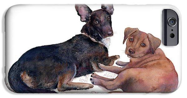 Little Dogs iPhone Cases - This is a Private Conversation iPhone Case by Amy Kirkpatrick