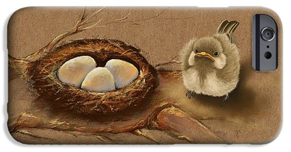 Baby Bird iPhone Cases - This is my nest? iPhone Case by Veronica Minozzi