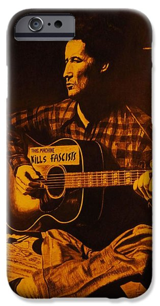 Woody Guthrie iPhone Cases - This Machine Kills Fascists iPhone Case by Charles Rogers