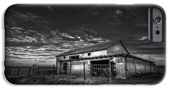 Country Shed iPhone Cases - This Old Barn-b/w iPhone Case by Marvin Spates