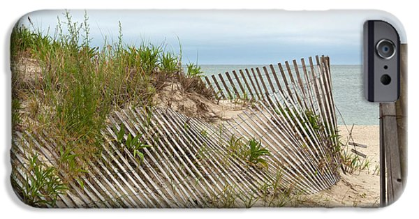 Sand Fences iPhone Cases - This Way to the Beach iPhone Case by Michelle Wiarda