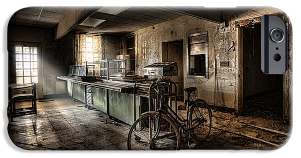 Business Digital Art iPhone Cases - This would be the end - Cafeteria - Abandoned Asylum iPhone Case by Gary Heller