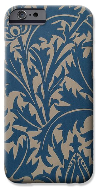 Old Tapestries - Textiles iPhone Cases - Thistle Design iPhone Case by William Morris