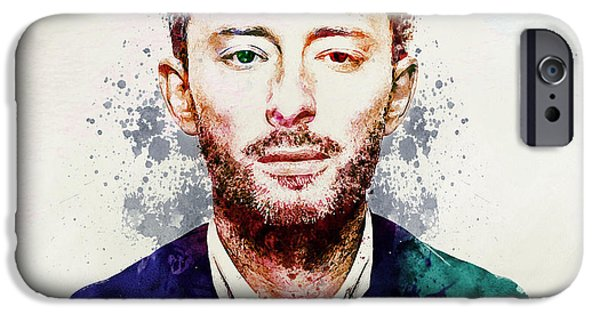 Marian iPhone Cases - Thom Yorke watercolor iPhone Case by Marian Voicu