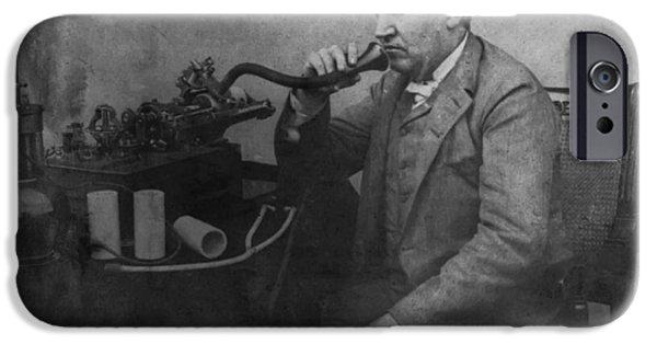 Thomas Alva Edison iPhone Cases - Thomas Alva Edison 1892 iPhone Case by Digital Reproductions