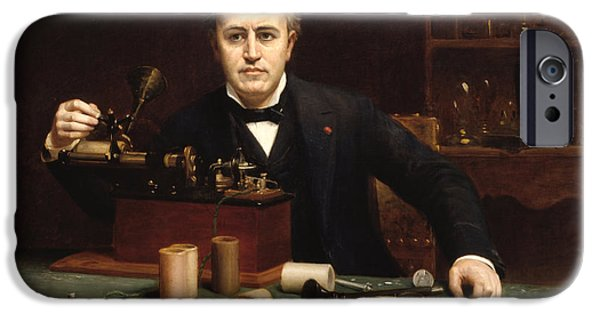 Concept Paintings iPhone Cases - Thomas Alva Edison iPhone Case by Abraham Anderson