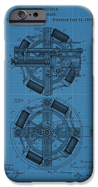 Technology Drawings iPhone Cases - Thomas Edison Blueprint Phonograph iPhone Case by Dan Sproul