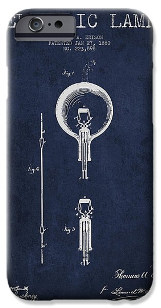 Edison iPhone Cases - Thomas Edison Electric Lamp Patent from 1880 - Blue iPhone Case by Aged Pixel