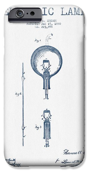 Edison iPhone Cases - Thomas Edison Electric Lamp Patent from 1880 - Blue Ink iPhone Case by Aged Pixel