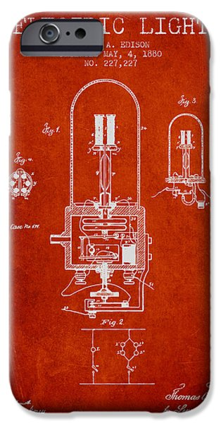 Edison iPhone Cases - Thomas Edison Electric Light Patent from 1880 - Red iPhone Case by Aged Pixel