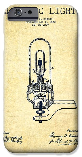 Bulb iPhone Cases - Thomas Edison Electric Lights Patent from 1880 - Vintage iPhone Case by Aged Pixel