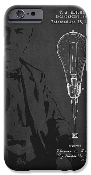 Edison iPhone Cases - Thomas Edison Incandescent Lamp Patent Drawing From 1890 iPhone Case by Aged Pixel