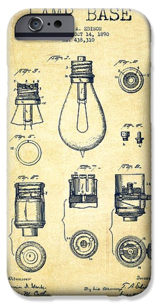 Technical iPhone Cases - Thomas Edison Lamp Base Patent from 1890 - Vintage iPhone Case by Aged Pixel