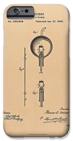 Thomas Edison Patent Application for the Light Bulb iPhone Case by Movie Poster Prints