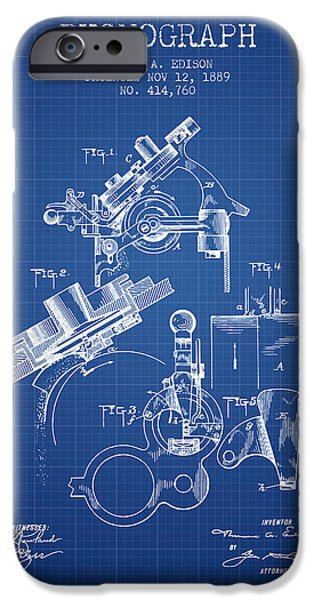 Edison iPhone Cases - Thomas Edison Phonograph patent from 1889 - Blueprint iPhone Case by Aged Pixel