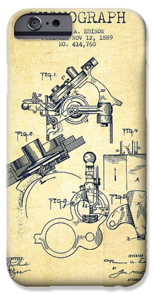 Recently Sold -  - Antiques iPhone Cases - Thomas Edison Phonograph patent from 1889 - Vintage iPhone Case by Aged Pixel