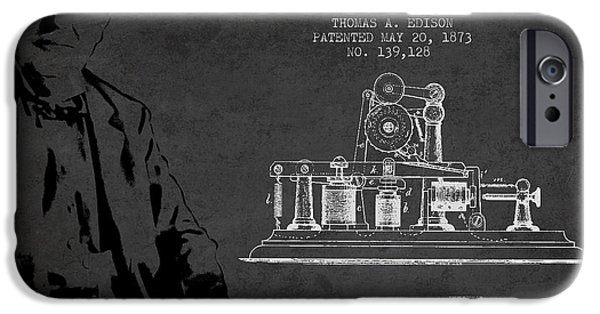 Calling iPhone Cases - Thomas Edison Printing Telegraph Patent Drawing From 1873 - Dark iPhone Case by Aged Pixel