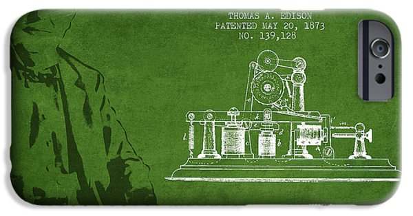 Calling iPhone Cases - Thomas Edison Printing Telegraph Patent Drawing From 1873 - Gree iPhone Case by Aged Pixel