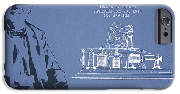 Calling iPhone Cases - Thomas Edison Printing Telegraph Patent Drawing From 1873 - Ligh iPhone Case by Aged Pixel
