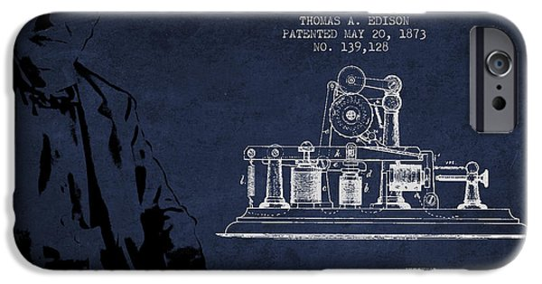 Calling iPhone Cases - Thomas Edison Printing Telegraph Patent Drawing From 1873 - Navy iPhone Case by Aged Pixel