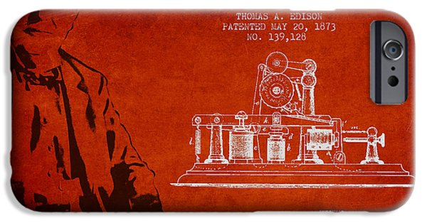 Calling iPhone Cases - Thomas Edison Printing Telegraph Patent Drawing From 1873 - Red iPhone Case by Aged Pixel