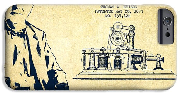 Calling iPhone Cases - Thomas Edison Printing Telegraph Patent Drawing From 1873 - Vint iPhone Case by Aged Pixel