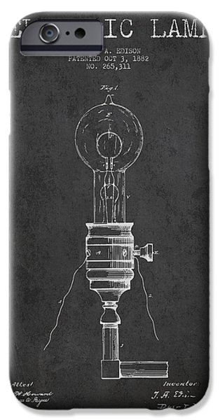 Edison iPhone Cases - Thomas Edison Vintage Electric Lamp Patent from 1882 - Dark iPhone Case by Aged Pixel
