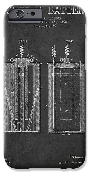 Edison iPhone Cases - Thomas Edison Voltaic Battery Patent from 1890 - Charcoal iPhone Case by Aged Pixel