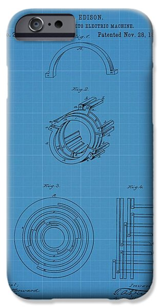 Dynamos iPhone Cases - Thomas Edisons Dynamo Magneto Electric Machine Blueprint Patent iPhone Case by Dan Sproul