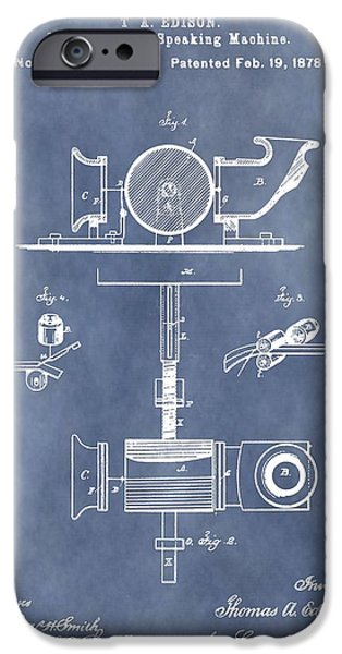 Thomas Alva Edison iPhone Cases - Thomas Edisons Phonograph iPhone Case by Dan Sproul
