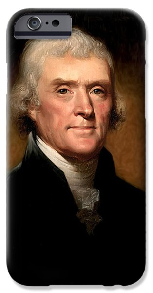 Thomas Jefferson by Rembrandt Peale iPhone Case by Digital Reproductions