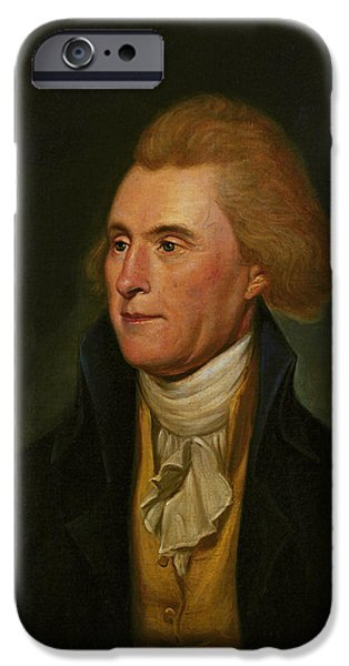 Thomas Jefferson Paintings iPhone Cases - Thomas Jefferson iPhone Case by Charles Wilson Peale