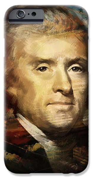 Thomas Jefferson Paintings iPhone Cases - Thomas Jefferson iPhone Case by Corporate Art Task Force