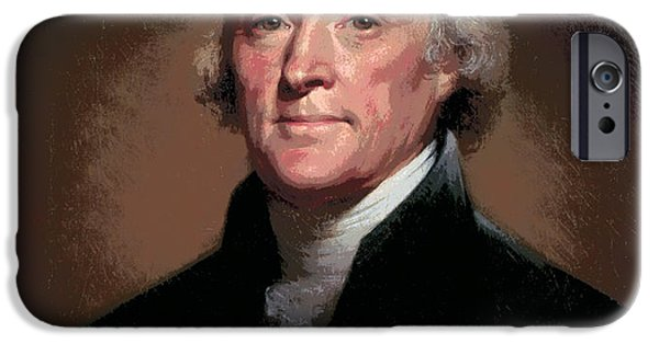 Constitution iPhone Cases - Thomas Jefferson Freedom iPhone Case by Daniel Hagerman