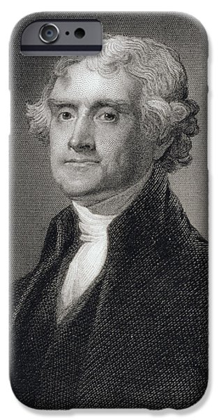 White House Paintings iPhone Cases - Thomas Jefferson iPhone Case by Gilbert Stuart