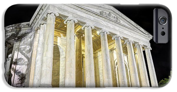 District Columbia Photographs iPhone Cases - Thomas Jefferson Memorial at Night  iPhone Case by Gary Whitton