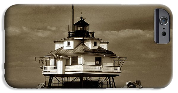 Annapolis Maryland iPhone Cases - Thomas Point Shoal Lighthouse Sepia iPhone Case by Skip Willits