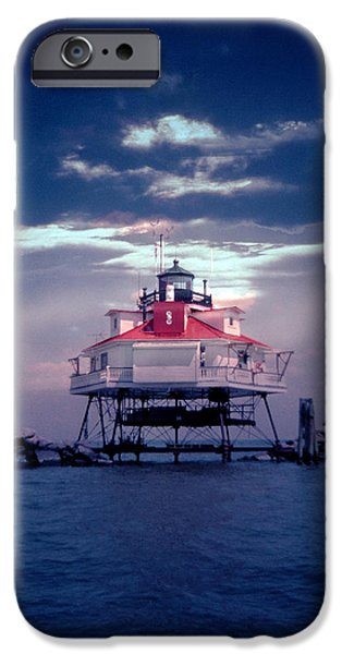 Annapolis iPhone Cases - Thomas Point Shoal Lighthouse iPhone Case by Skip Willits