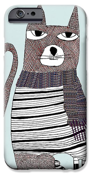 Cat Art Prints Drawings iPhone Cases - Thomson iPhone Case by Bri Buckley